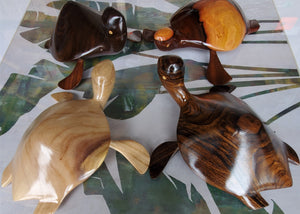 Hand carved Turtles from Local Burau, Tau or Miro wood - Large