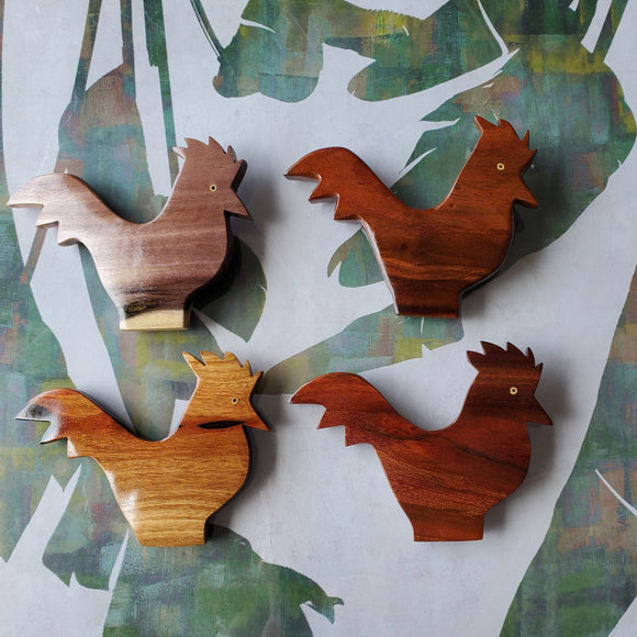 Hand carved Rooster Wall Hanging from local Miro, Burau or Tau Wood