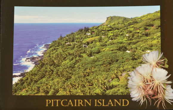 Pitcairn Island Postcard - Looking Down to Adamstown Stamped
