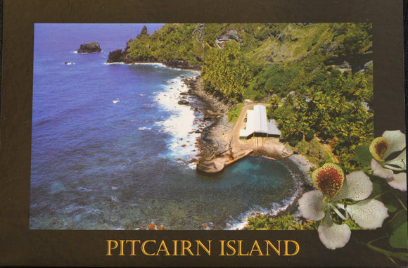 Pitcairn Island Postcard - Bounty Bay and Hattie flower Stamped
