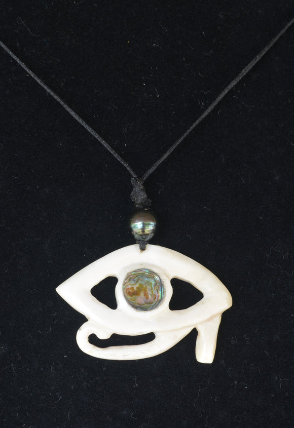 Hand carved bone necklace with Tahitian pearl