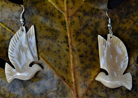 Hand carved Peace Bird earrings - Cattle Bone