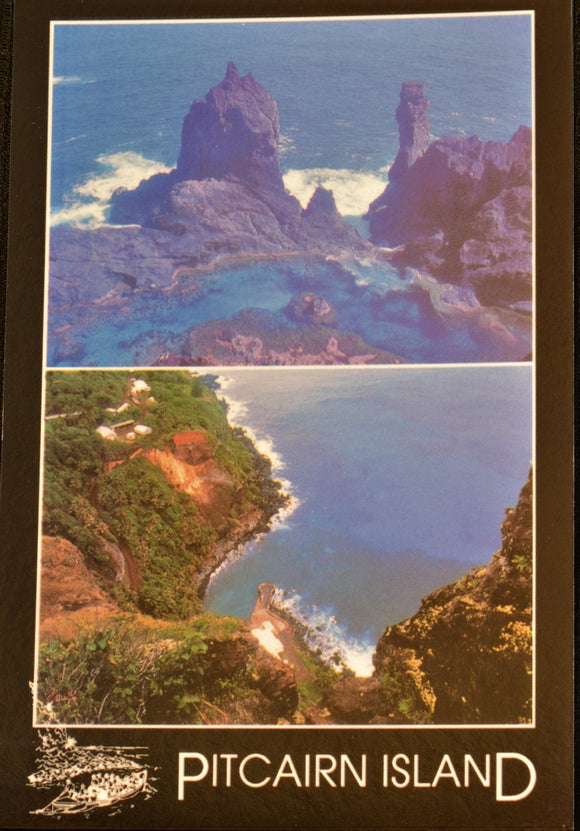 Pitcairn Island Postcard - Bounty Bay & St Paul's Pool