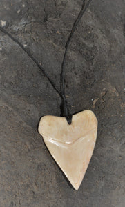 Hand carved bone shark tooth necklace