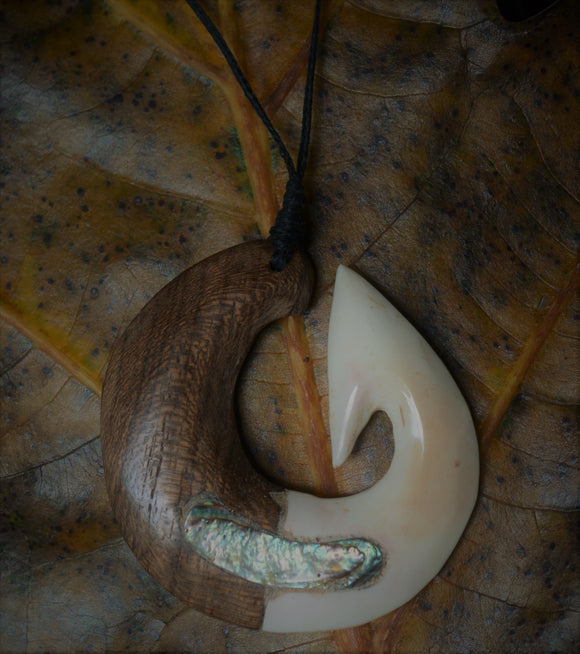 Hand carved Fish Hook necklace - Miro wood, Cattle Bone & Abalone