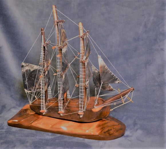 Hand carved HMS Bounty Model