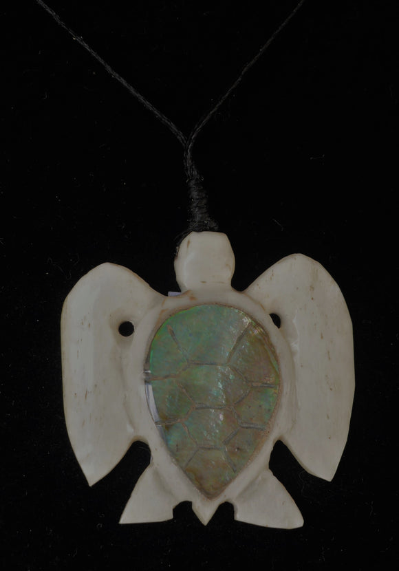 Hand carved bone turtle necklace