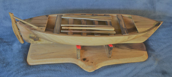 Hand carved Pitcairn Island Long Boat model from local Burau wood