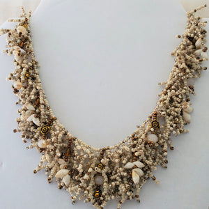 Hand made Coral Form Necklace - Cone Shells & Recycled Glass