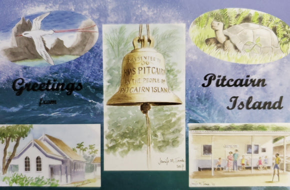 Pitcairn Island Postcard - Watercolours by Jennifer M Tombs