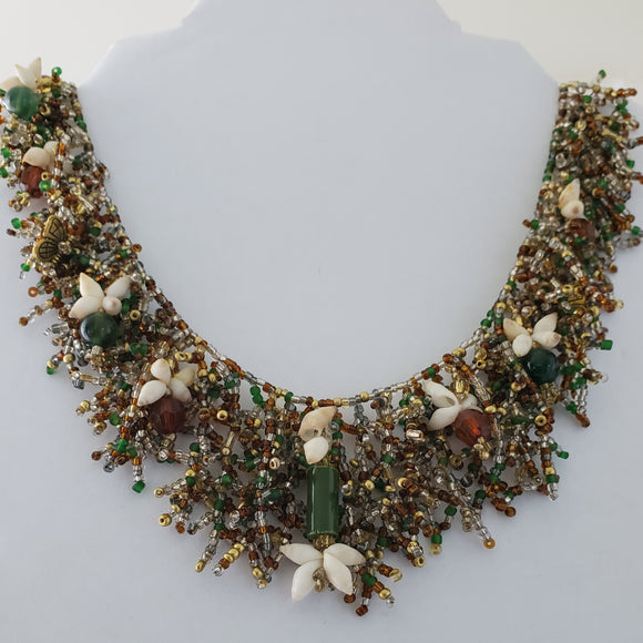 Handmade Coral Form Necklace - Recycled Glass & Bounty Bay Shells