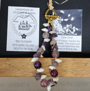 Hand crafted Cone Shell, Amethyst & Recycled Glass Bracelet