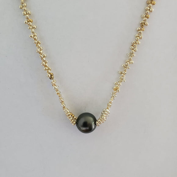 Hand crafted Single Pearl - Silver & Gold Beaded Chain Necklace