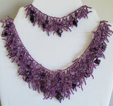 Hand made Coral form Necklace and Bracelet Set - Fetuei and Amethyst