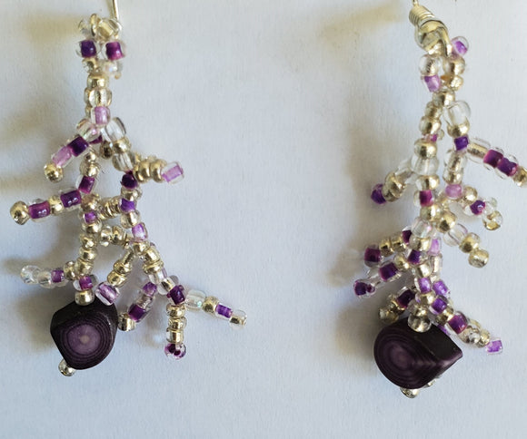 Hand made Coral form Fetuei Earrings, Silver and Purple beading