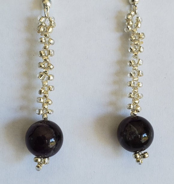 Hand Made Recycled Glass & Beaded Chain Earrings