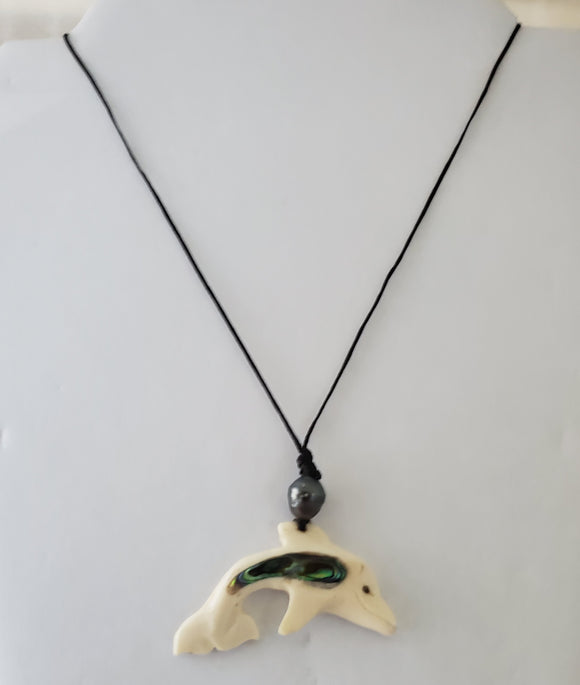 Hand Carved Dolphin Necklace  - Cattle Bone, Tahitian Black Pearl & Abalone