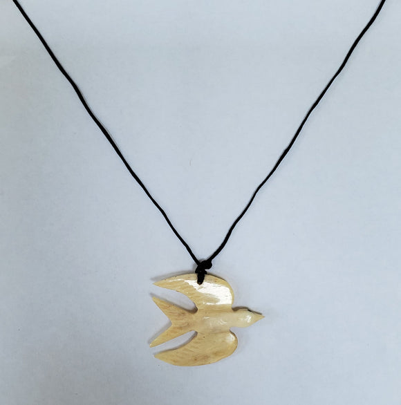 Hand carved Fairy Tern in Flight Necklace - Cattle Bone