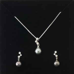 Hand Crafted Tahitian Black Pearl Earrings and Necklace Set