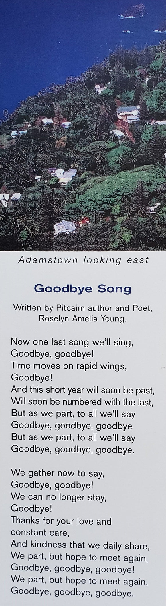 Bookmark - Pitcairn Island Goodbye Song