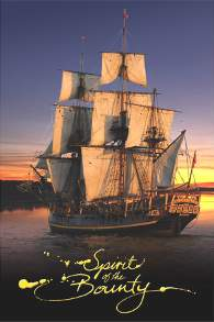 Spirit of the Bounty Postcard - HMAV Bounty Sunset