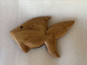 Handmade Goldfish Fridge Magnet in Local Burau Wood - Large