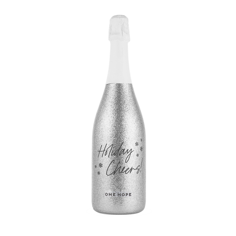 ONEHOPE, CA Brut Sparkling Wine Silver Shimmer Etched Edition - Holiday Cheers!