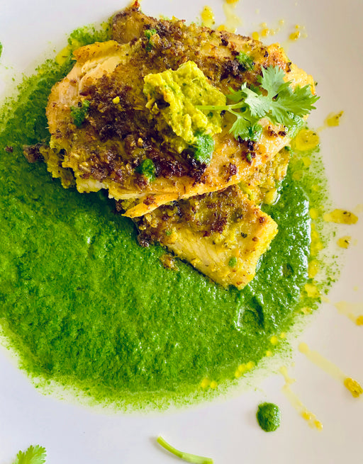 Story Plate Recipes: Coconut Turmeric Crusted Fish with Spinach Chili Curry - Chaiwali