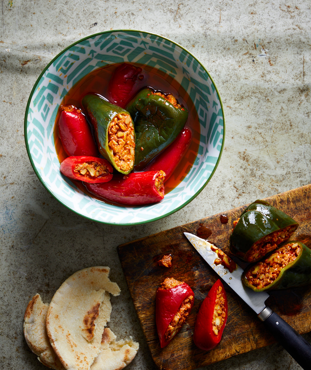 Story Plate Recipes: Makdous Peppers Oil-Cured Peppers with Walnut Stuffing - Tanoreen