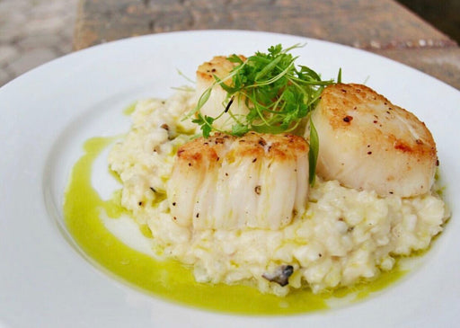 Story Plate Recipes: Pan Seared Diver Scallops with Tart & Creamy Lemon Truffle Risotto with Chive Oil - Vessel NOLA