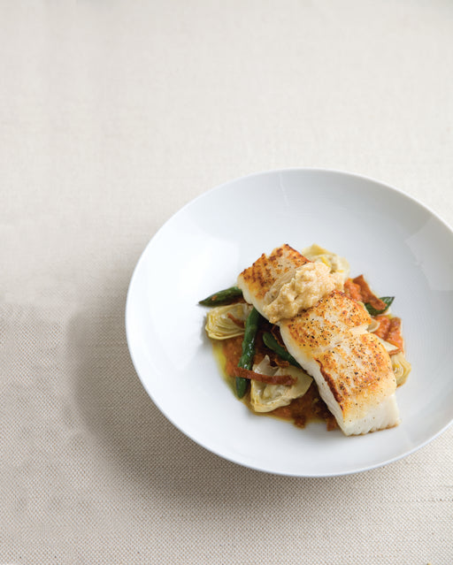 Story Plate Recipes: Roasted Halibut, Romesco, Pine Nut Butter - Rioja