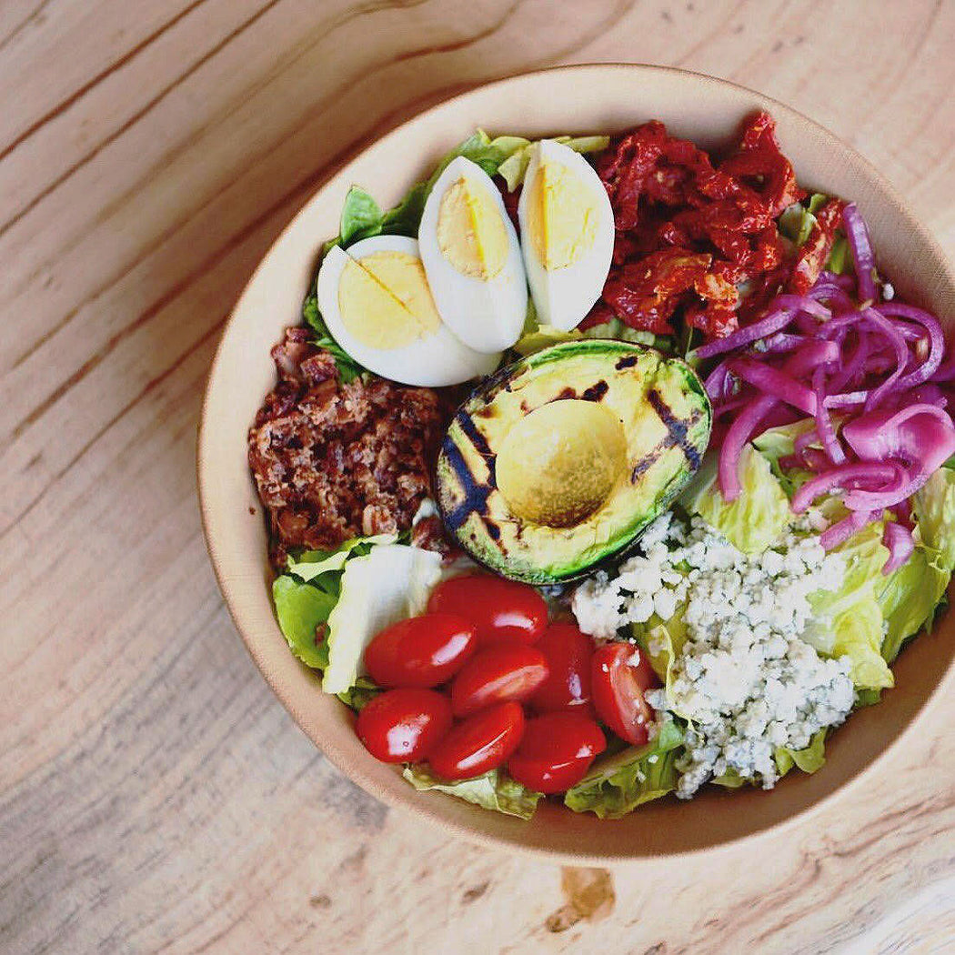 Story Plate Recipes: Cat Cora's Grilled Avocado Cobb Salad With Apricot Dressing - Mesa Burger SB