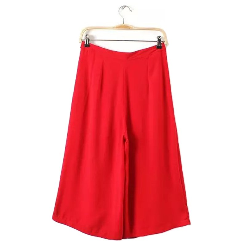 Simple Design High Waist Zippered Pure Color Women's Flare Leg Capri Pants