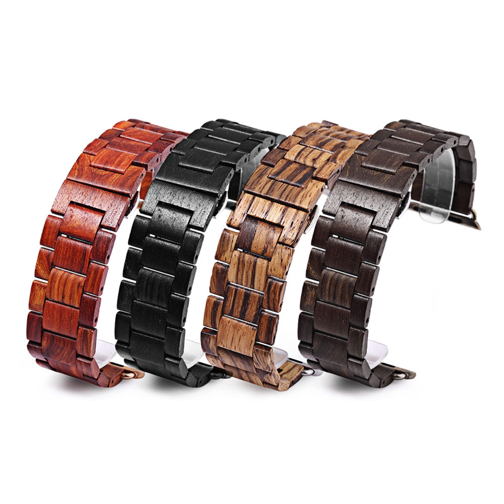 BEWELL ZS - B01 24MM Wooden Watch Strap Butterfly Clasp Wristband