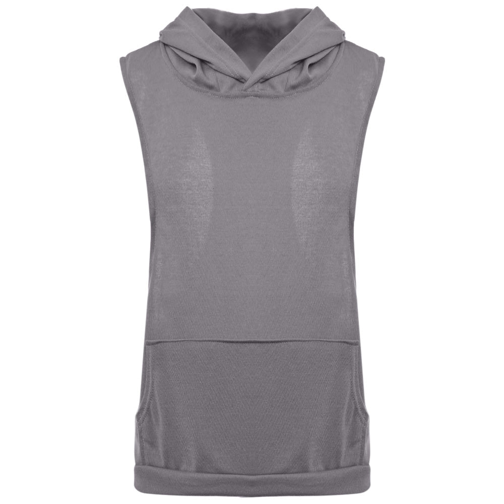 Simple Design Hooded Sleeveless Front Pocket Solid Color T-Shirt for Men