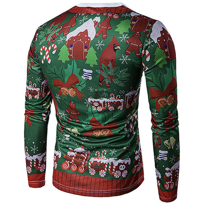 Crew Neck 3D Christmas Print T-Shirt