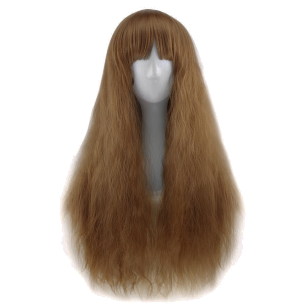 Full Bangs Long Half Curly Hair Wig Heat Resistant Natural Black