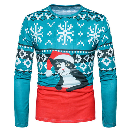 Crew Neck 3D Cat Geometric Print Christmas T-shirt