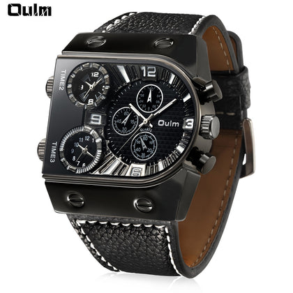 Free Shipping Oulm 9315 Multi-function 3 Movt Quartz Men Watch