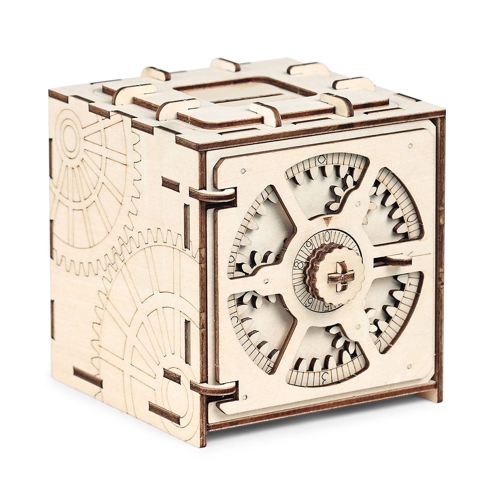 Free Shipping Wooden Mechanical Model 3D Puzzle Cipher Code Deposit Box