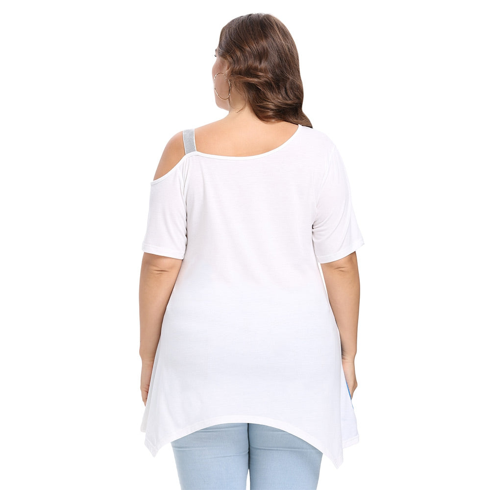 Trendy Skew Collar Short Sleeve Print Plus Size Women T-shirt