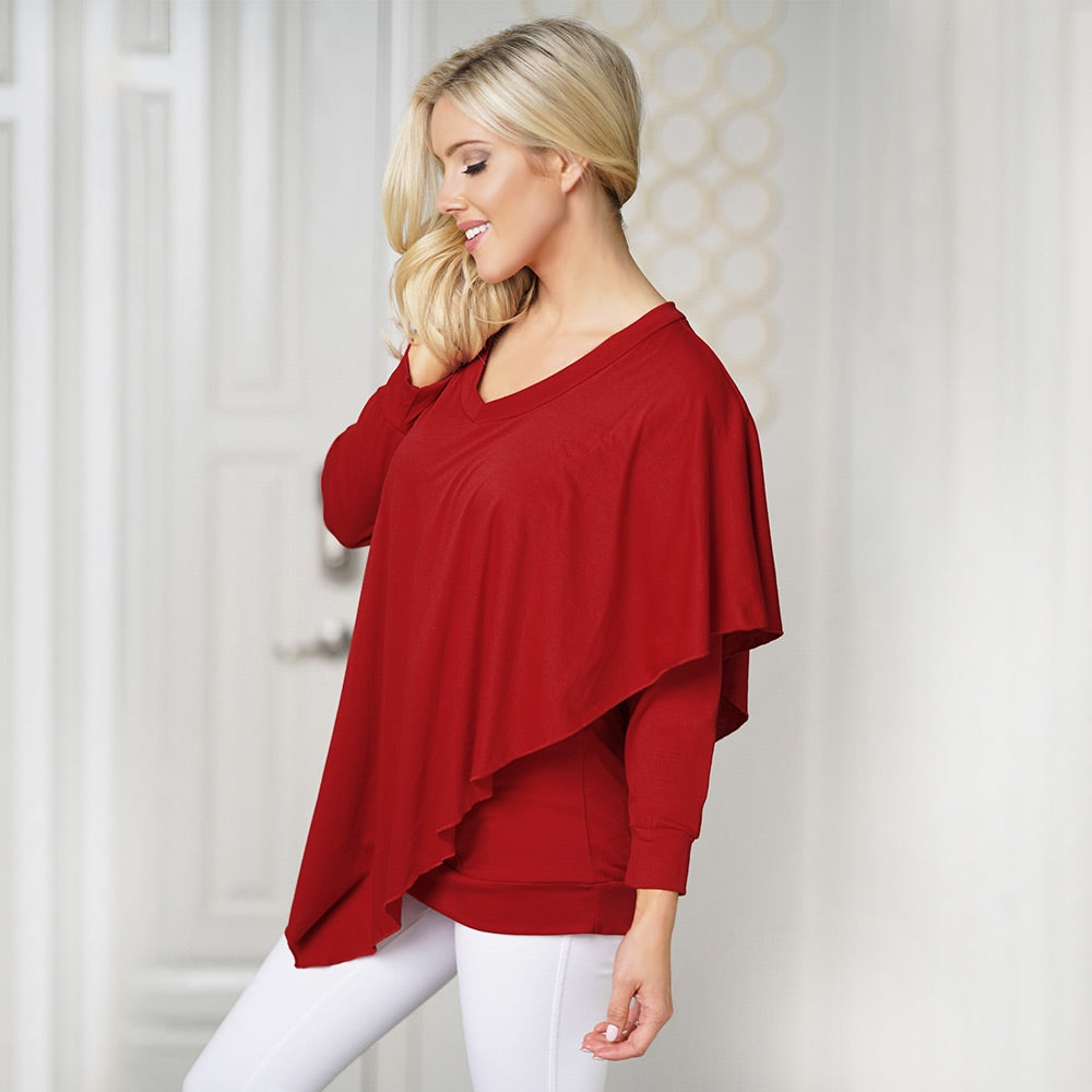 V Neck Long Sleeve Layered Asymmetric Women T-shirt