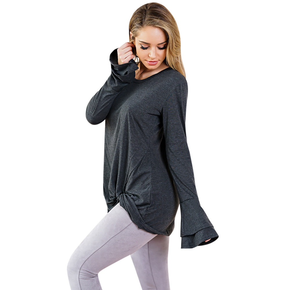 Round Collar Long Bell Sleeve Solid Color Asymmetric Loose Women T-shirt