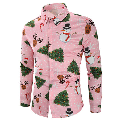 Christmas Snowmen Snoeflake Tree Candy Print Shirt