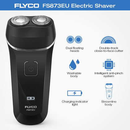 Free Shipping FLYCO FS873EU Electric Shaver Washable Beard Trimmer Rechargeable Razor for Men