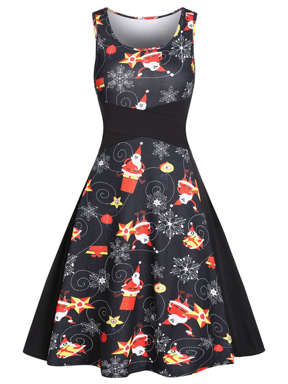 Vintage Christmas Santa Claus Print A Line Dress