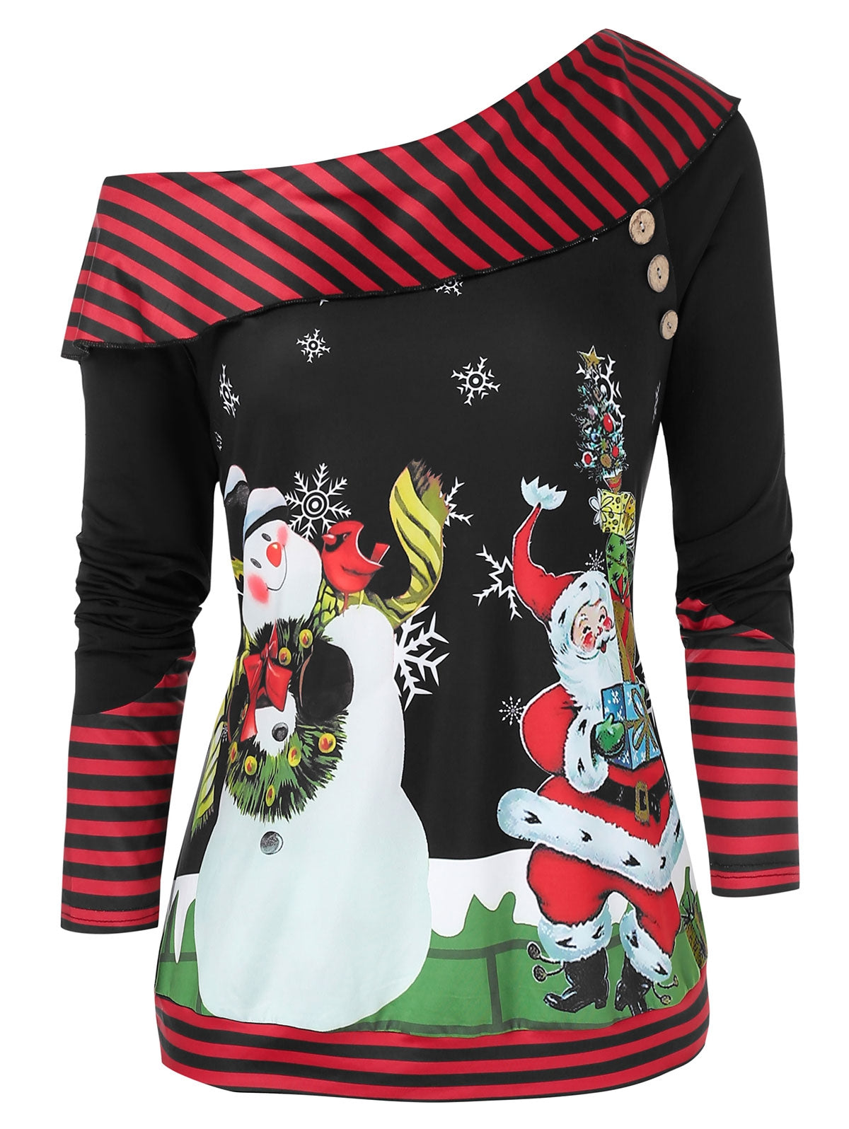 Plus Size Christmas Skew Neck Snowman Santa Claus Sweatshirt