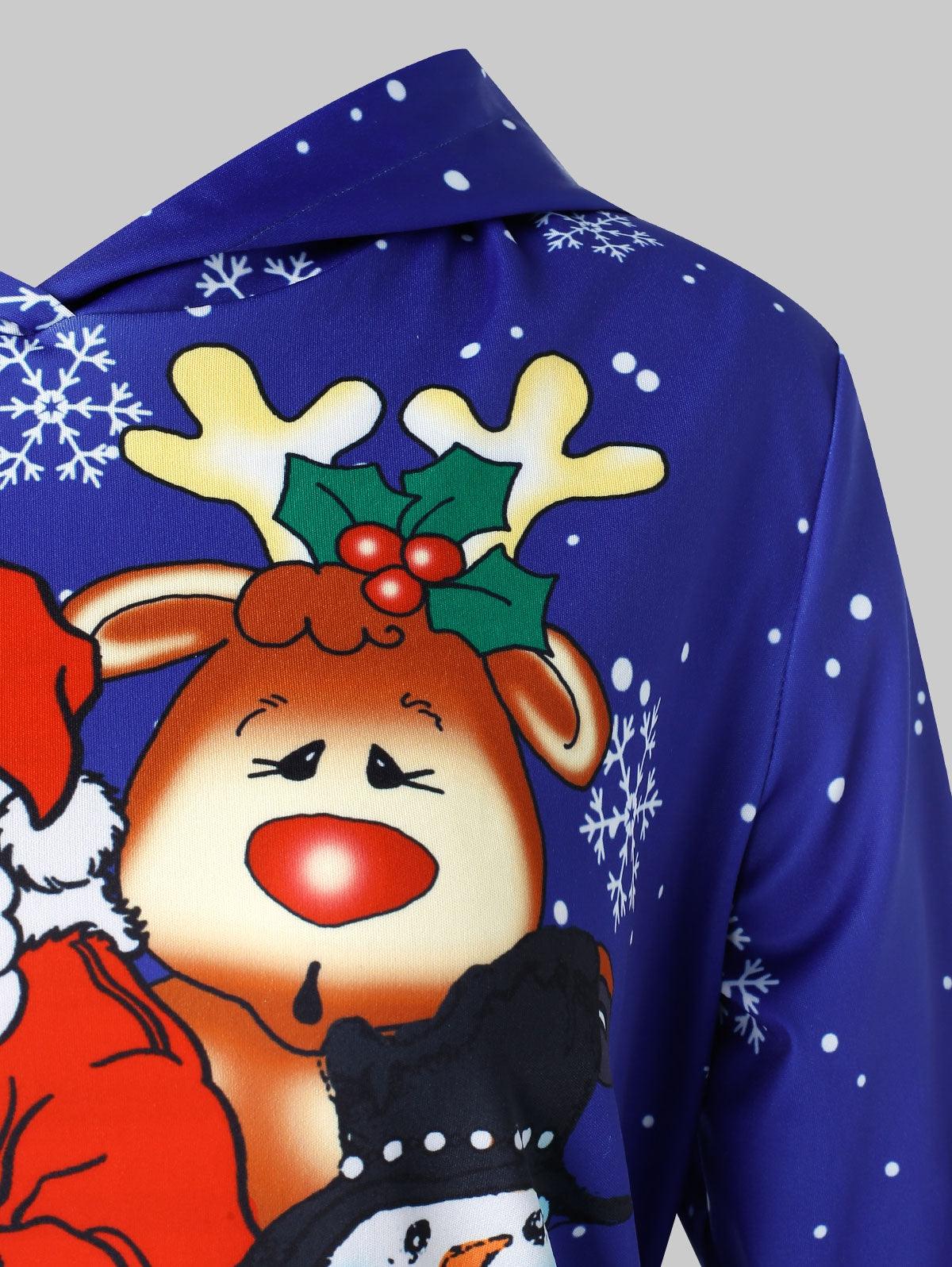 Plus Size Christmas Print Pullover Hoodie