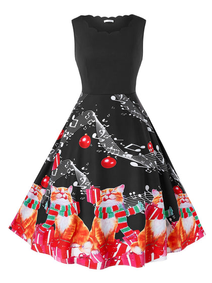 Plus Size Vintage Cat Print Christmas Pin Up Dress