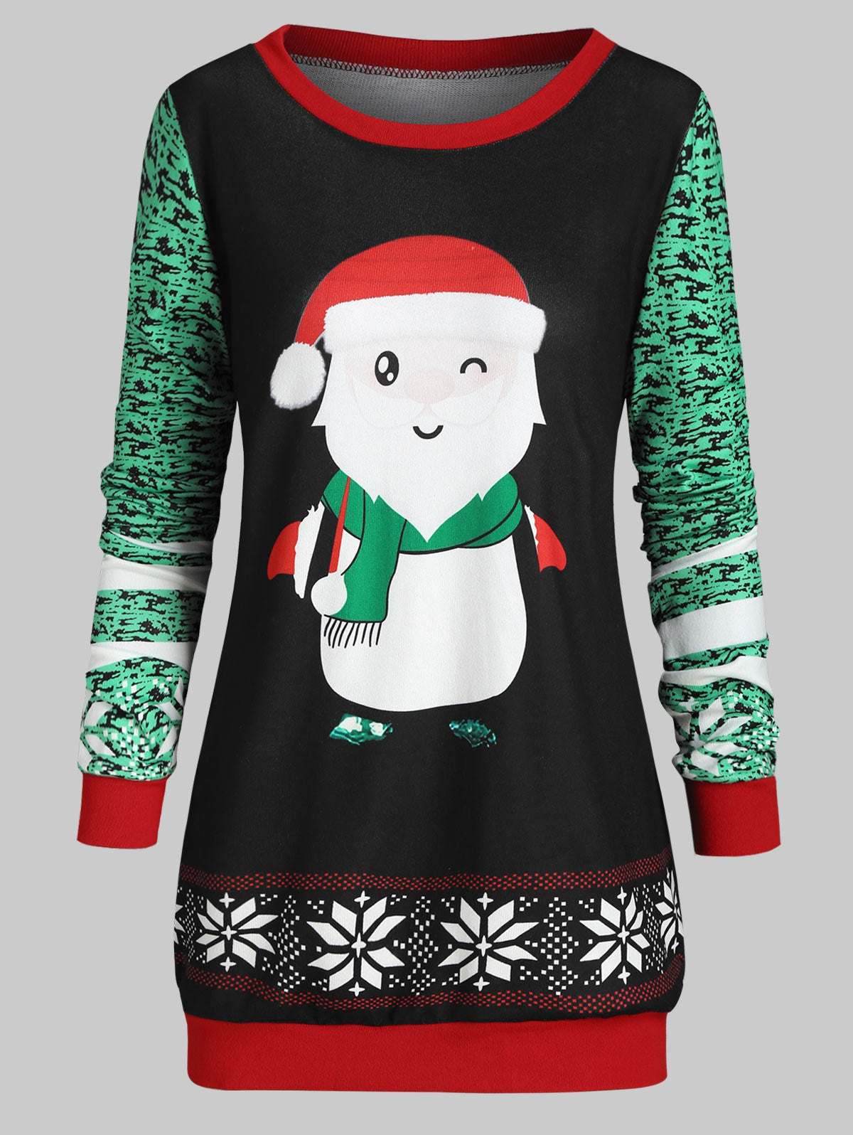 Plus Size Santa Claus Print Christmas T Shirt